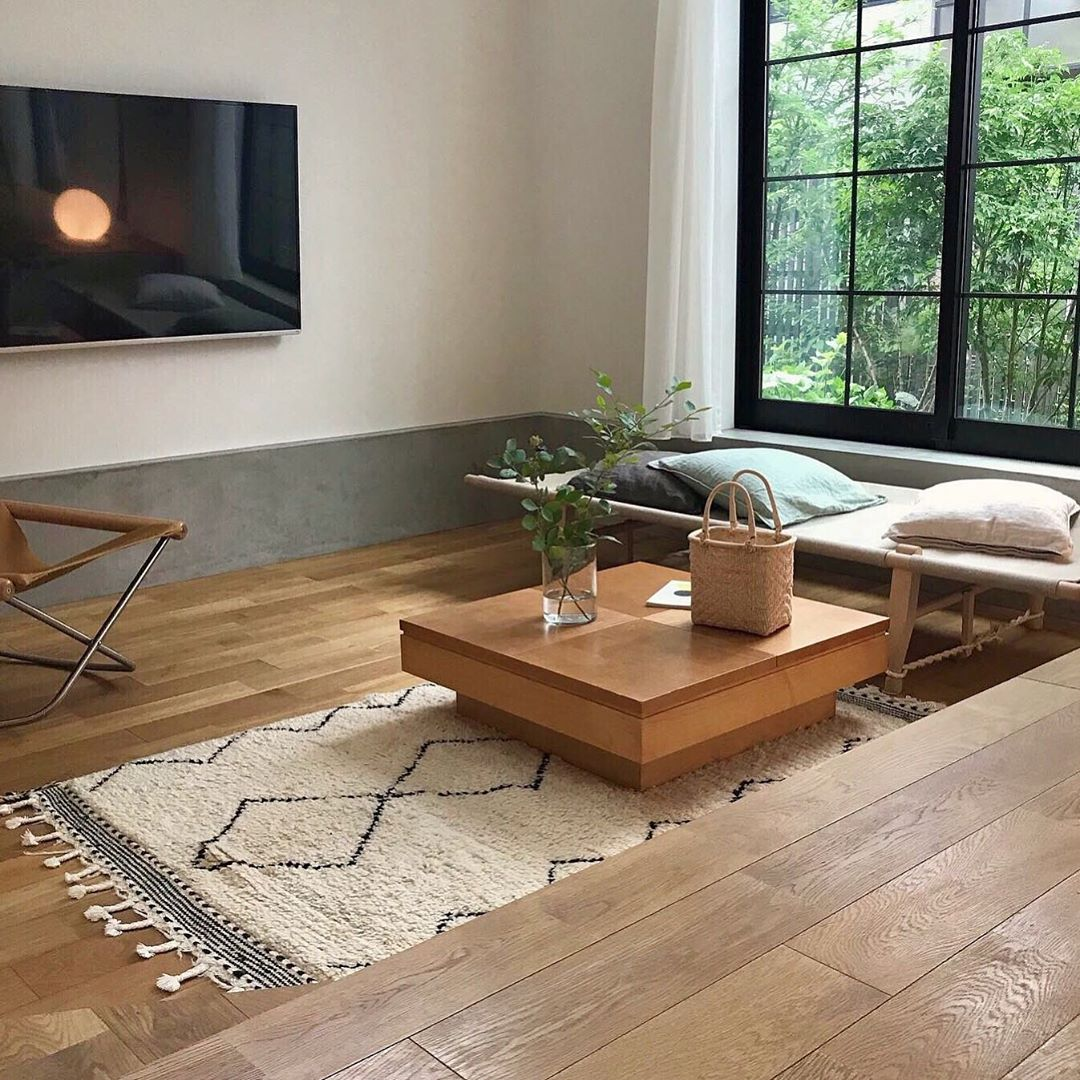 japanese home decor - living room with different wood textures