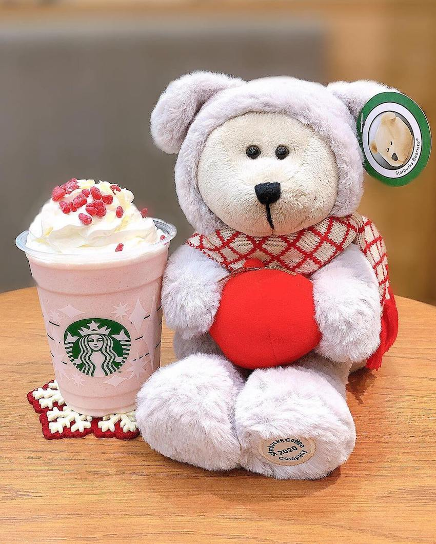 starbucks japan pastel christmas 2020 - bearista in dog costume