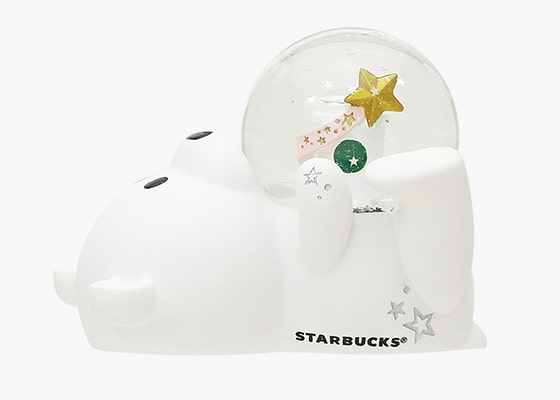 starbucks japan pastel christmas 2020 - bearista hugging snow globe