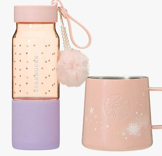 starbucks japan pastel christmas 2020 - bottle with pompom charm and mug