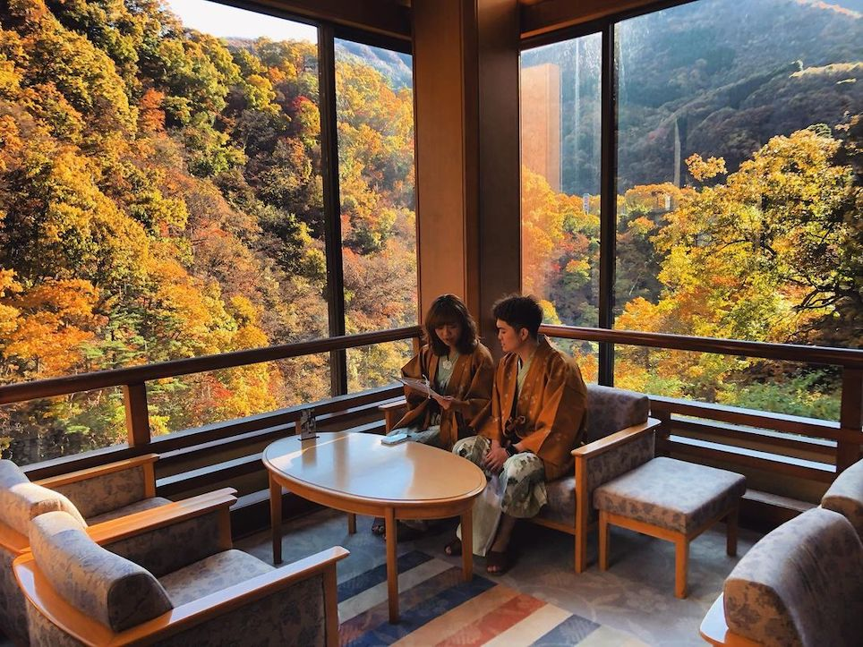 Demon Slayer Infinity Castle Ashinomaki Onsen Ookawaso - autumn views