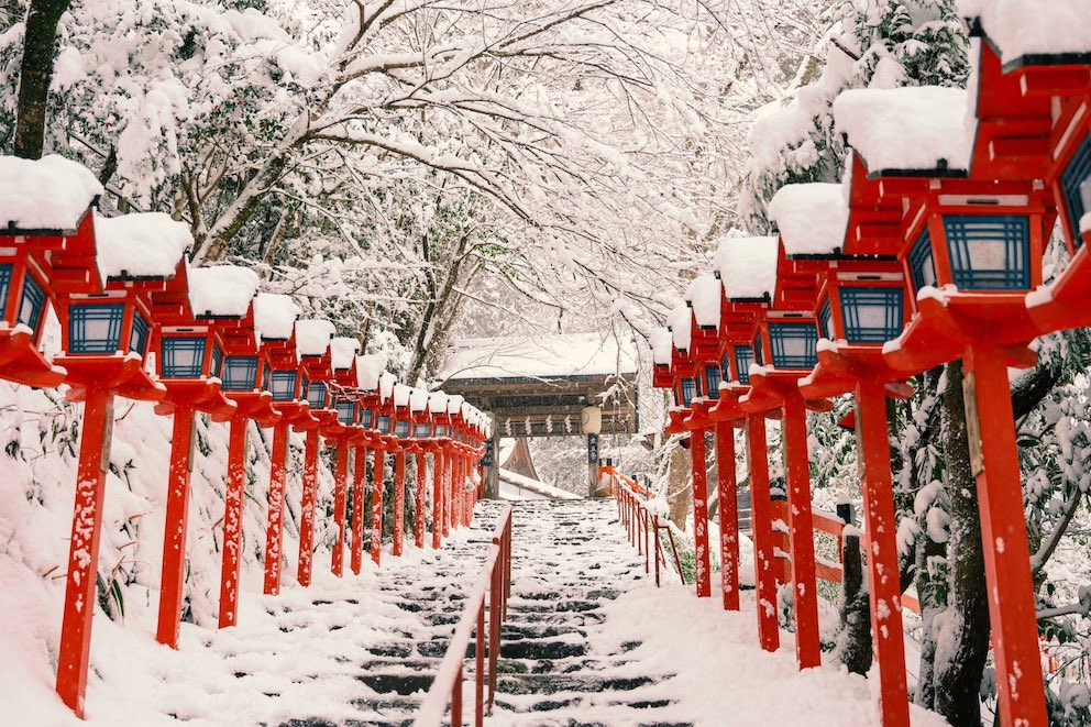 kifune shrine - stone stairs covered in snow