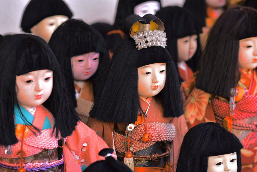 Dolls left at Awashima Shrine