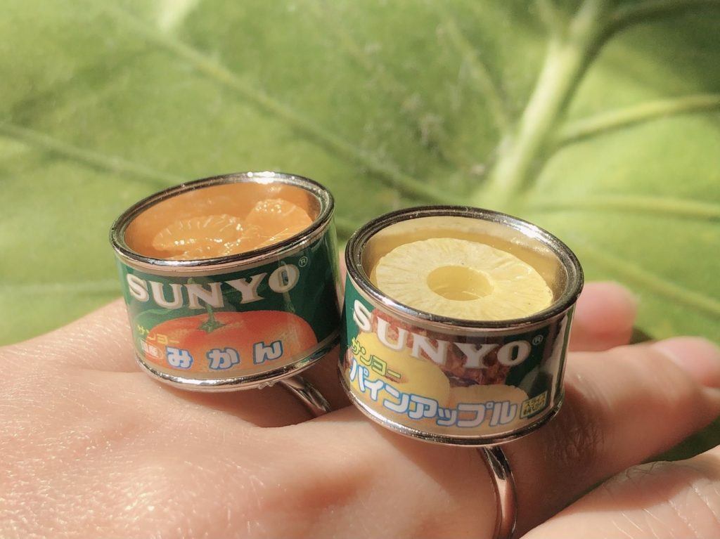 Canned food rings - canned pineapples and orange rings