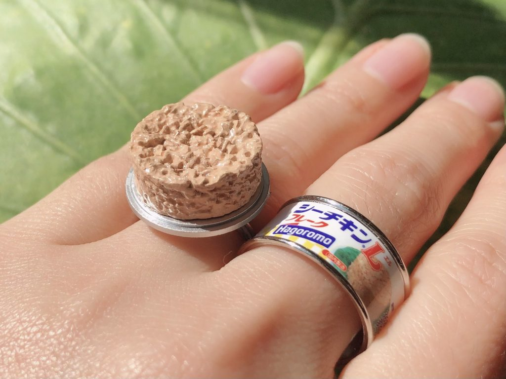 Canned food rings - canned tuna rings on fingers