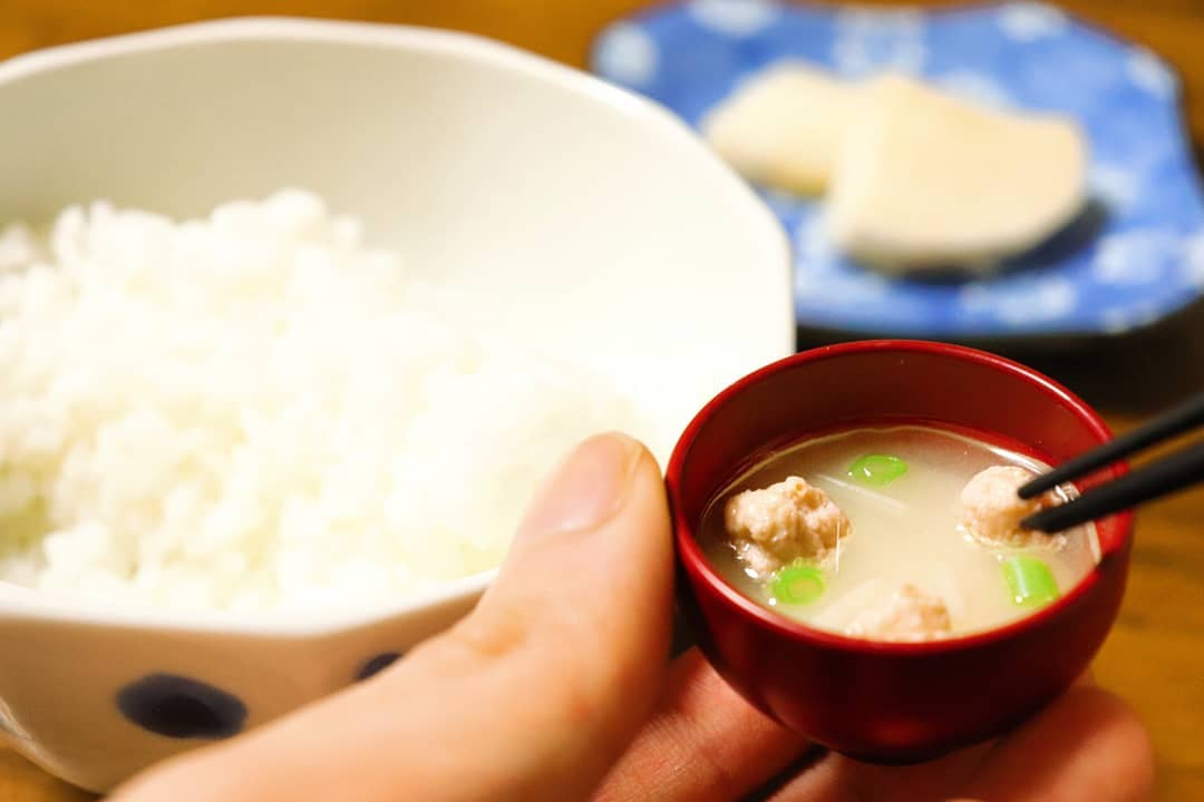 miso soup capsule toy - pork with beansprout and spring onions