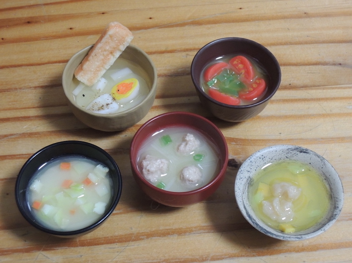 miso soup capsule toy - set of 5