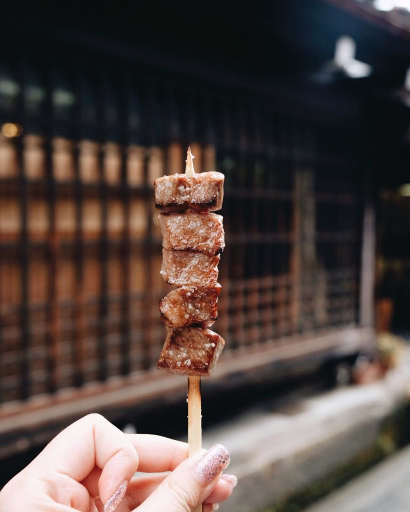Traditional Japanese towns - hida beef skewers