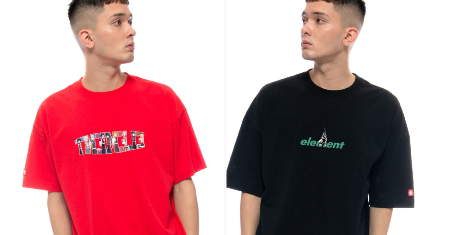 element demon slayer - red and black shirts