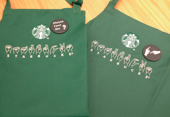 Starbucks Signing Store Tokyo - aprons and badges
