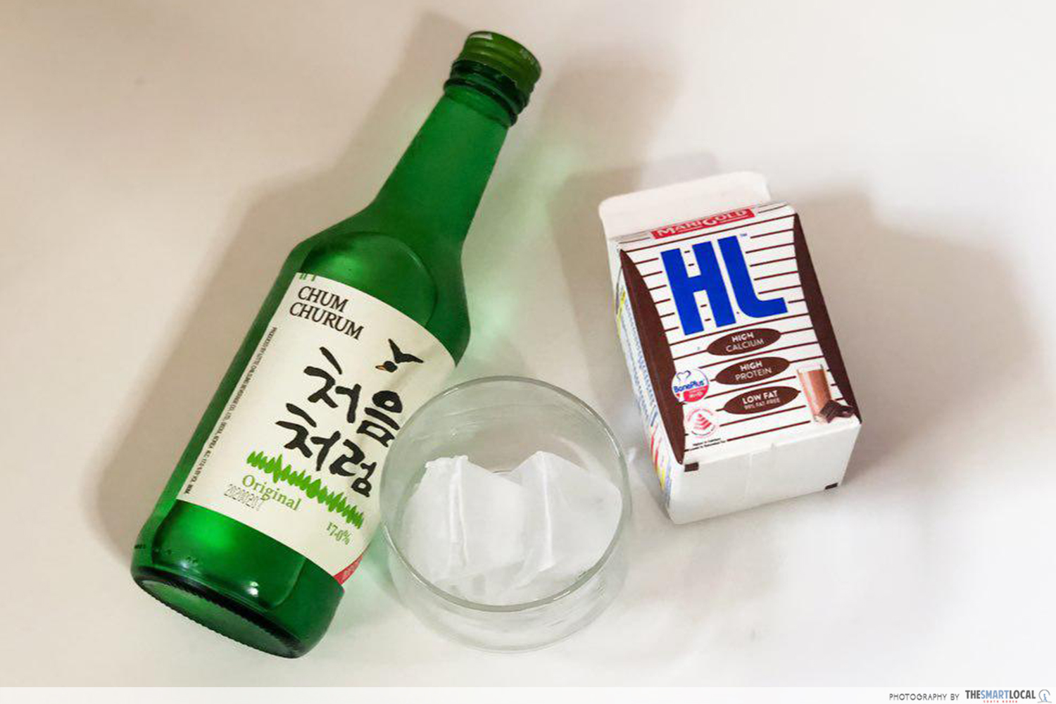 Chocolate milk and soju