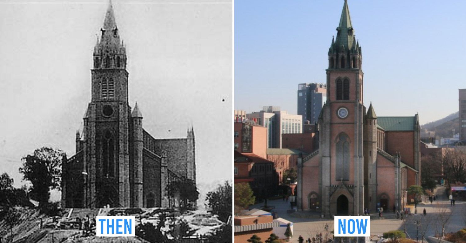 Seoul then and now - Myeong-dong cathedral