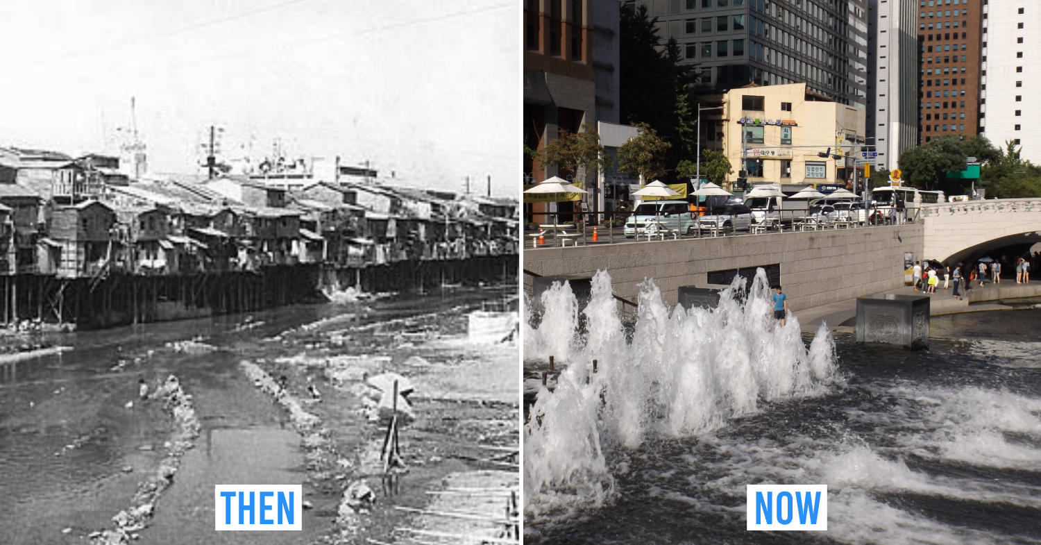 Seoul then and now - Cheonggyecheon stream