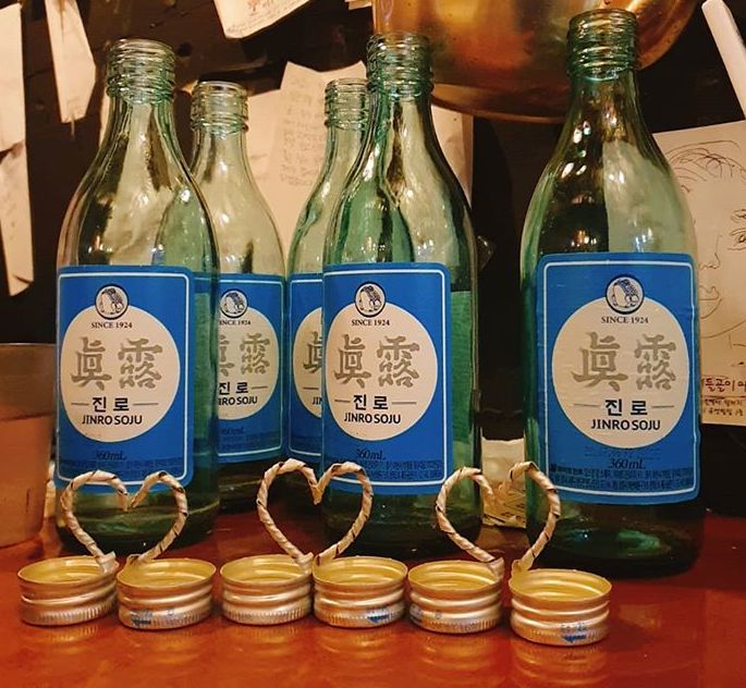 Soju Brands in Korea - Newtro Jinro bottles