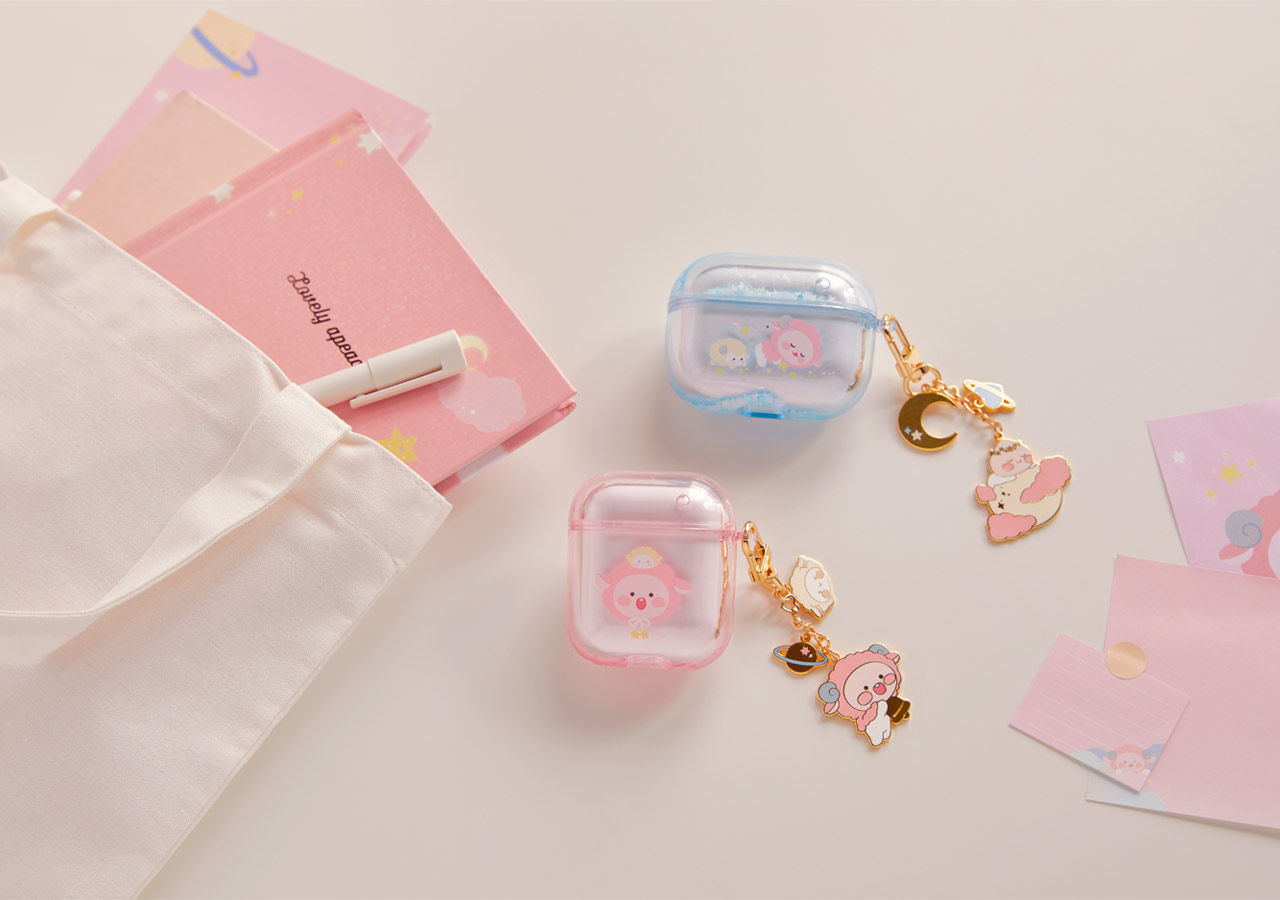 Pastel Lovely Apeach - Kakao Friends new collection, Airpods case
