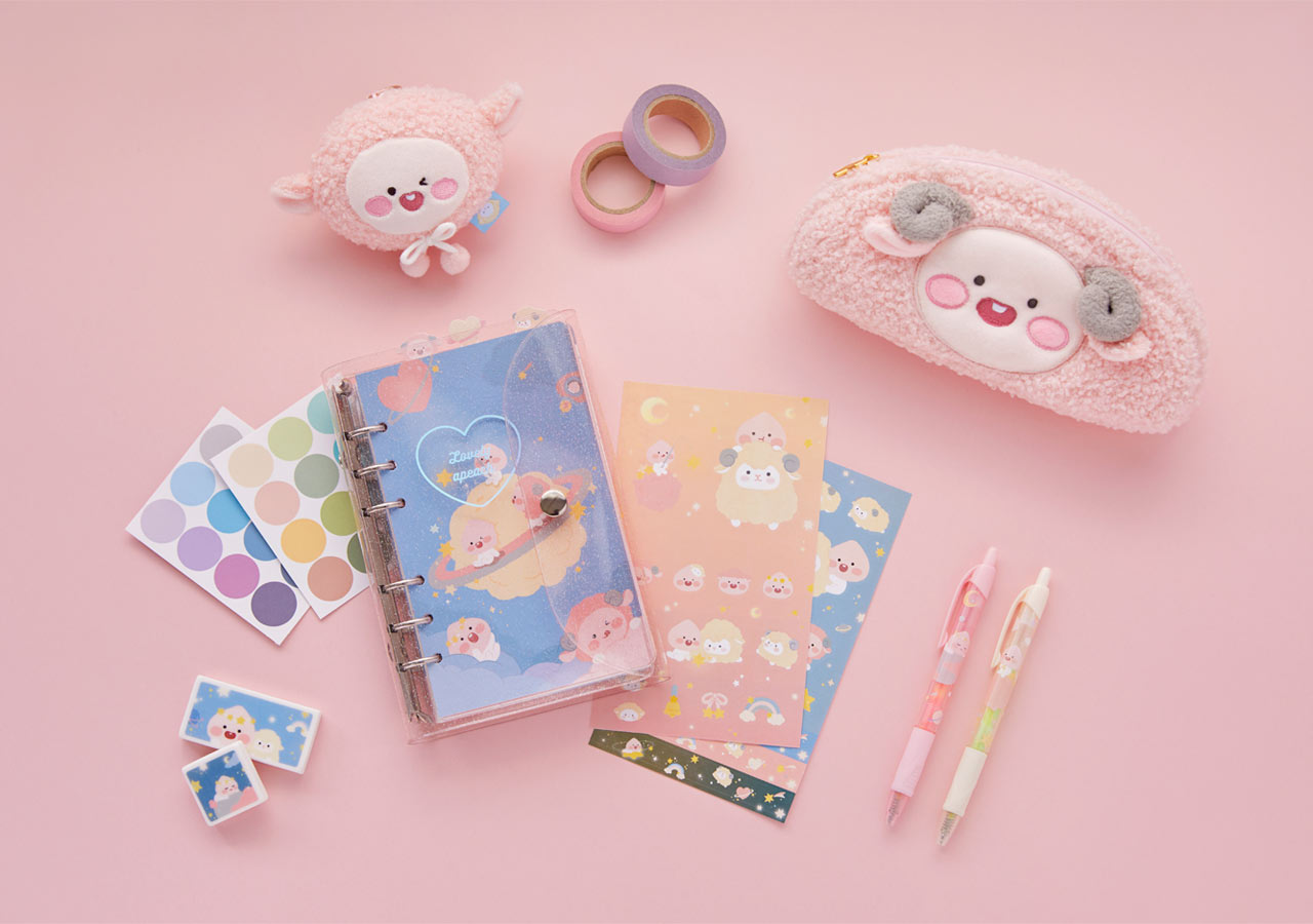 Pastel Lovely Apeach - Kakao Friends new collection, stationery