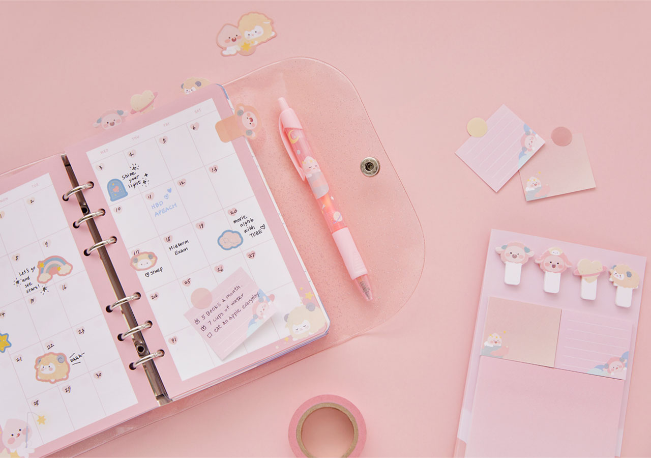 Pastel Lovely Apeach - Kakao Friends new collection, stationery, notebook