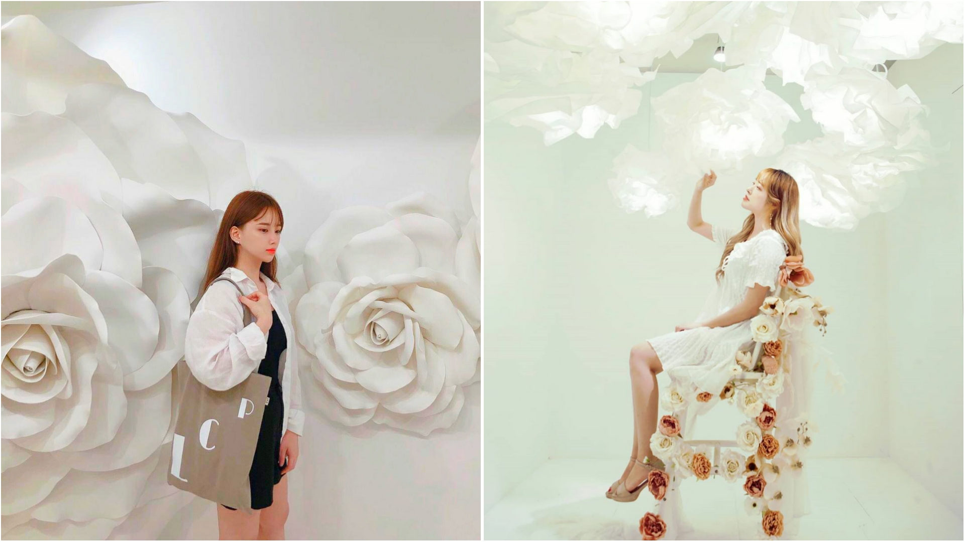 Rose Petal Yeonnam-dong - White Rose and Pure Love installations