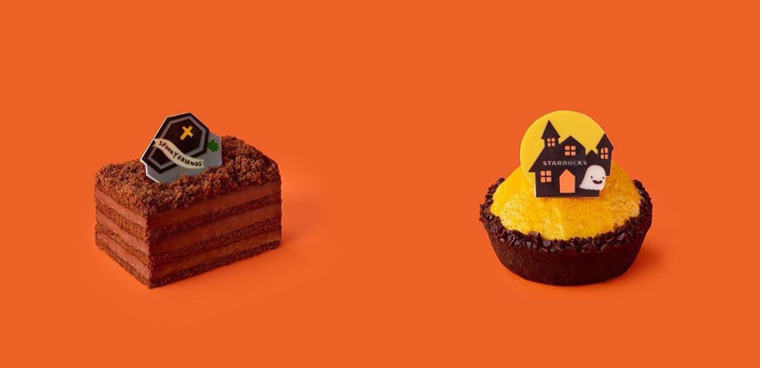 Starbucks Korea Halloween 2020 - Halloween Honey Chocolate Cake and Halloween Pumpkin Black Tart
