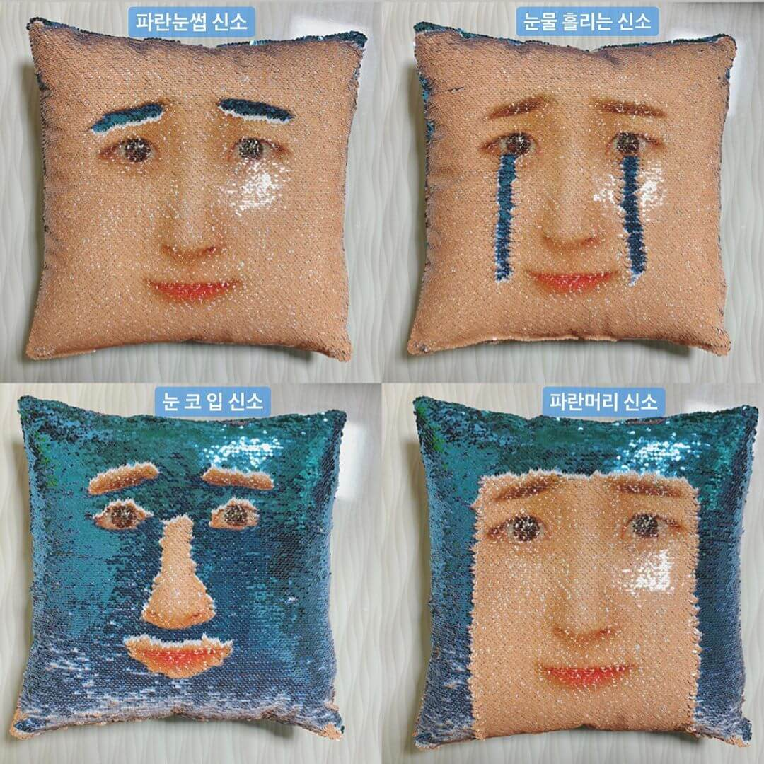 Korean Lifestyle Goods - sequin face cushion
