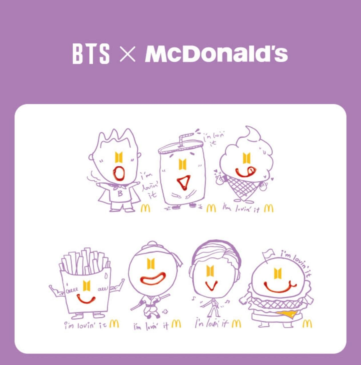 bts mcdonald collection - bts characters