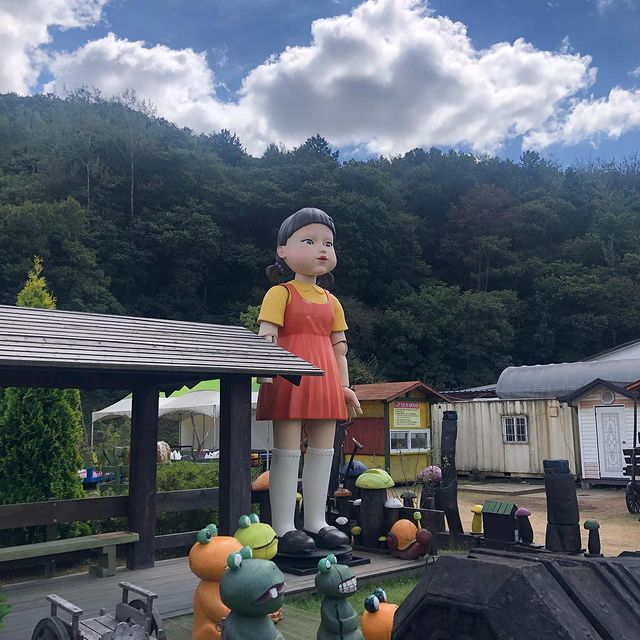 Squid Game Doll - doll at macha land, carriage museum located at jincheon