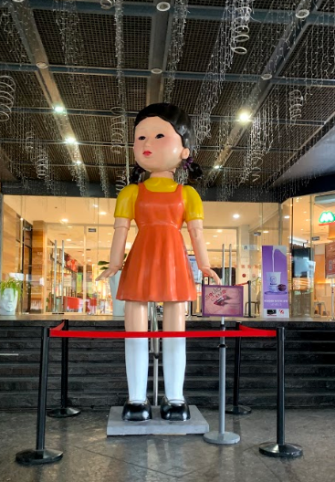 Squid Game Doll - doll in front of Robinsons Galleria Ortigas Mall