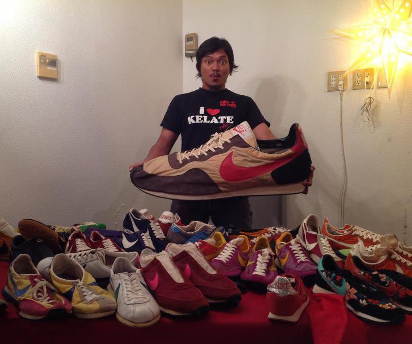 Hatu Guni with his shoe collection