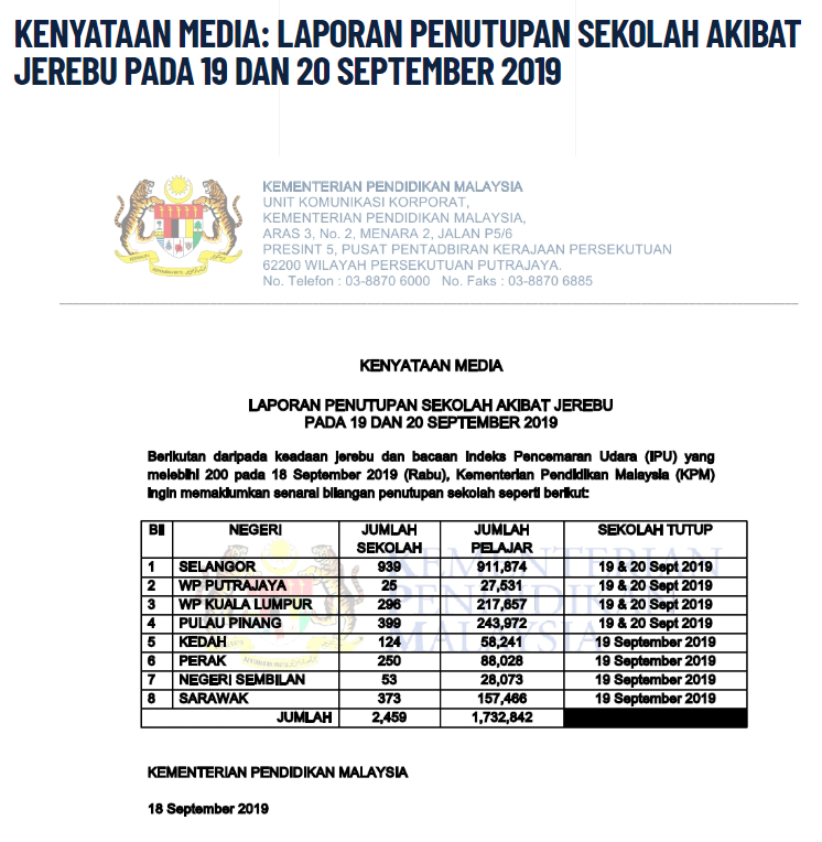 Ministry of Education Malaysia Statement Screenshot