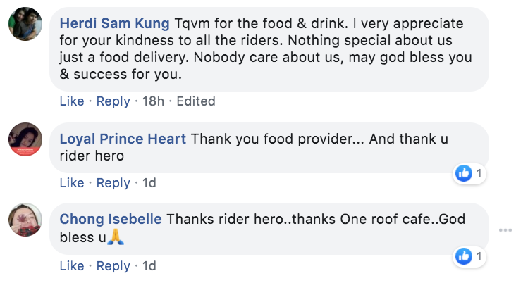 One Roof Cafe Facebook comments