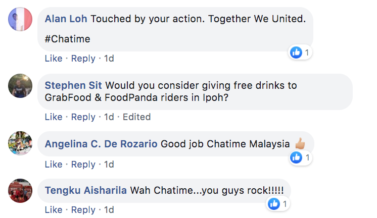 Chatime Facebook comments