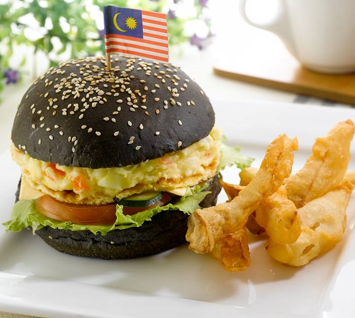 Charcoal burger from Simple Life Healthy Vegetarian Restaurant