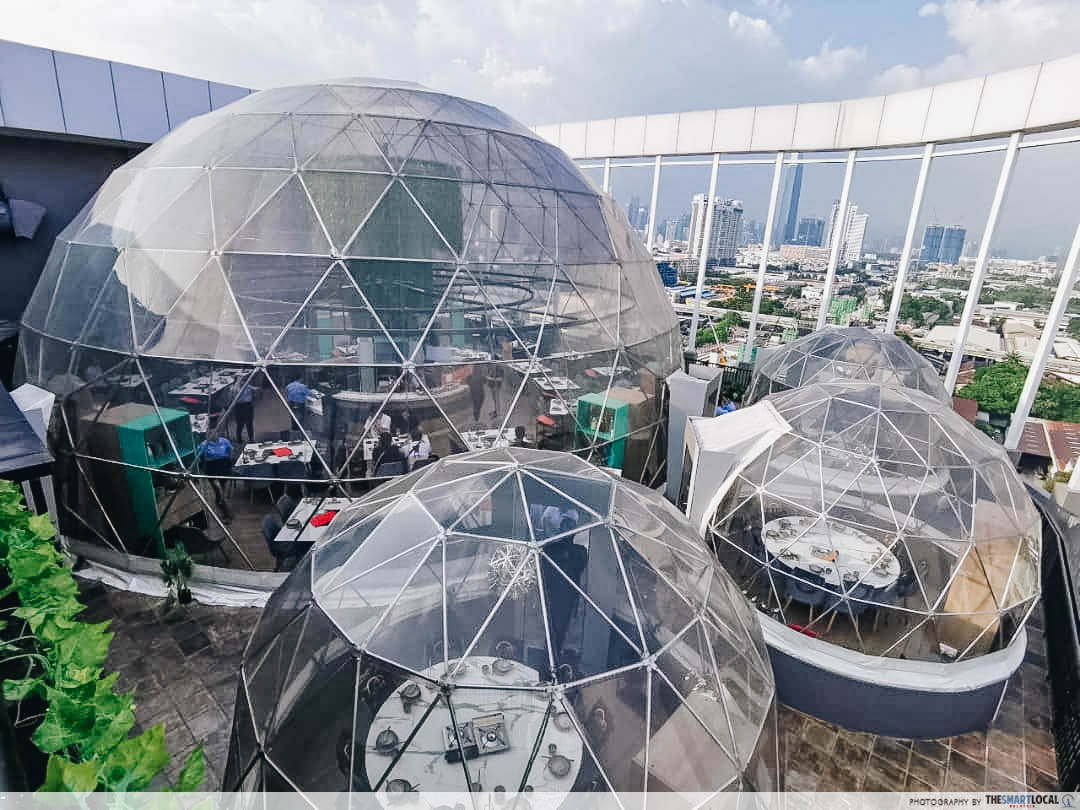 Clear domes on rooftop