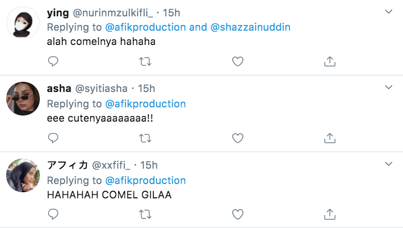 Twitter users comment comel gila