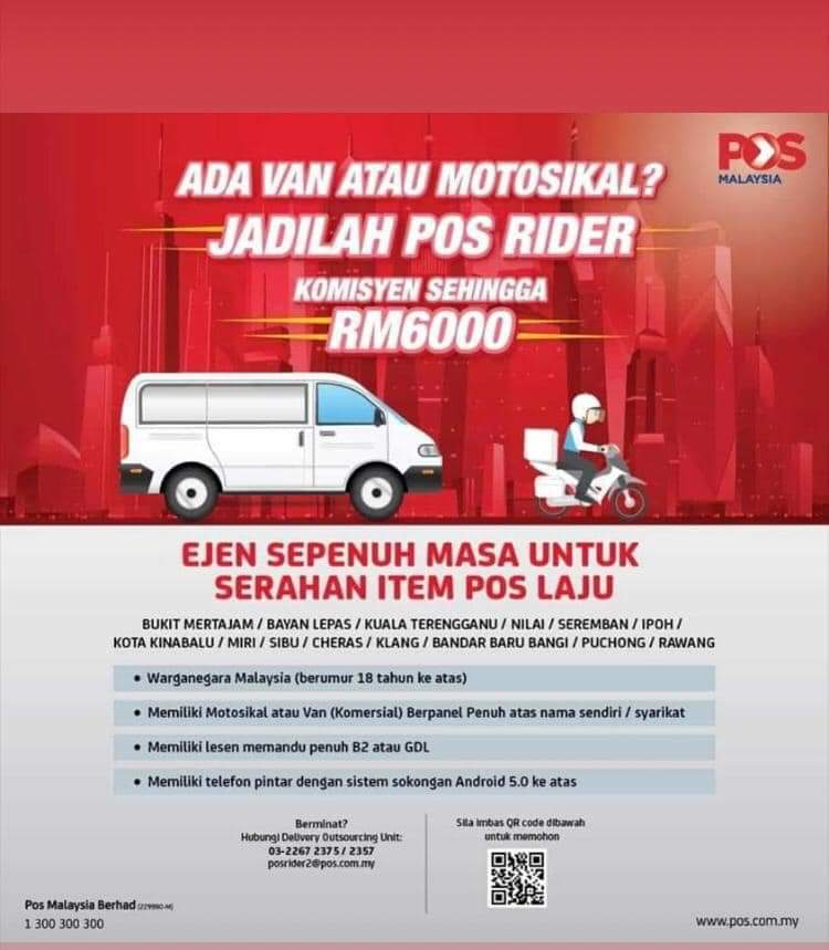 Pos Malaysia Is Hiring Delivery Riders To Help Out With Surge Of