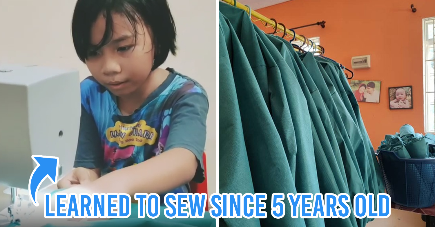 9-year-old girl sews PPE cover pic