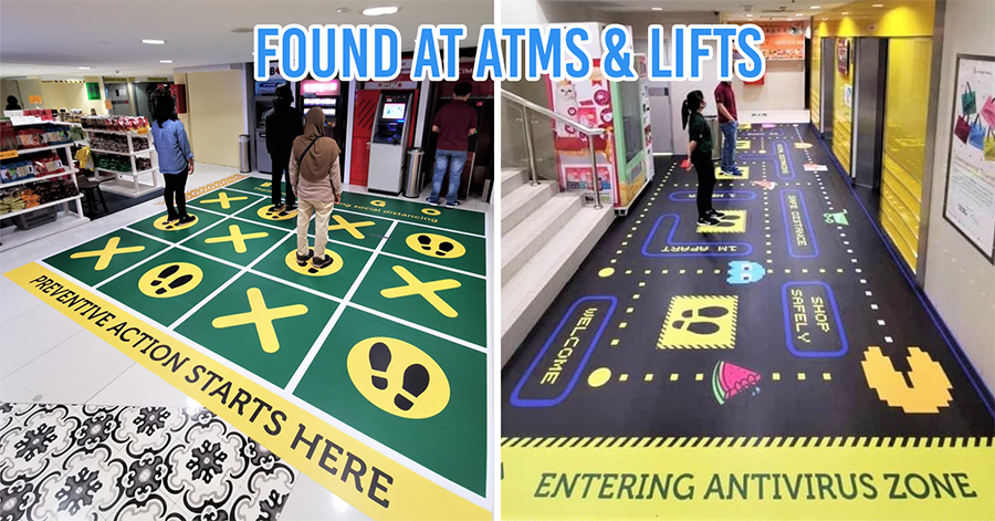 Tic-Tac-Toe and Pac-Man Floor Stickers at Sungei Wang Plaza