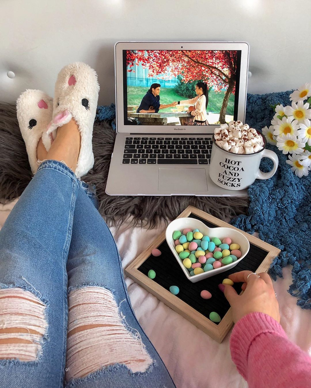 watching movies on laptop at home