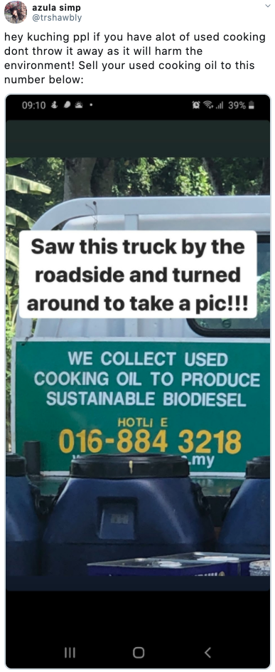 used cooking oil kuching