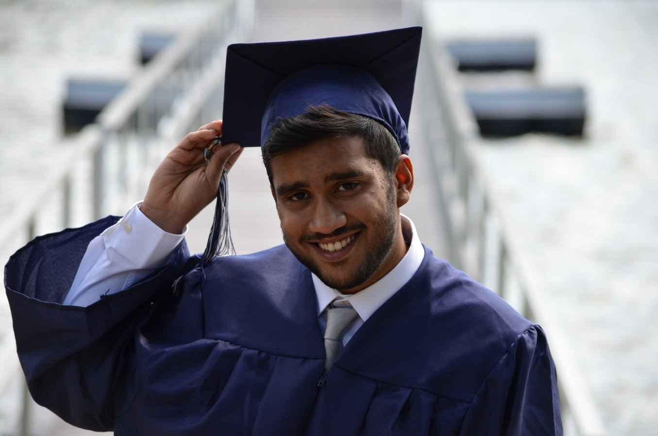 graduate in a hat and gown