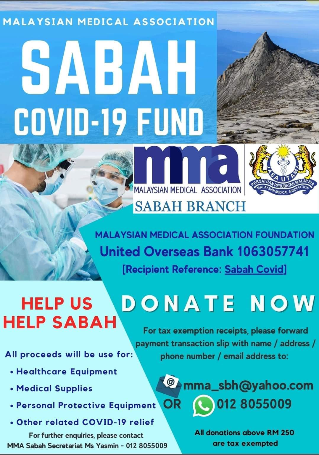 MMA Sabah COVID-19 fund poster
