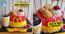 "Homebaker Gives McDonald's Nasi Lemak McD A ""Cake-over"", Realistic Ayam Goreng Is Made From Chocolate"