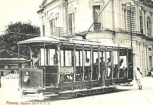old photo of penang's trams