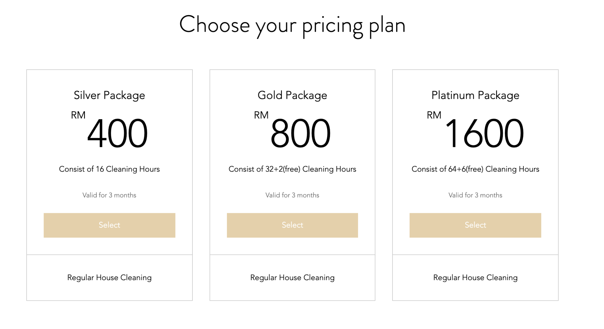 Chamberlain Cleaning - pricing plans