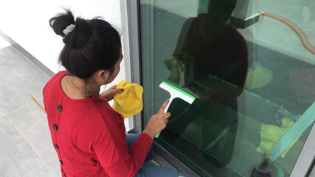 Big Family Cleaning - woman cleaning windows outside