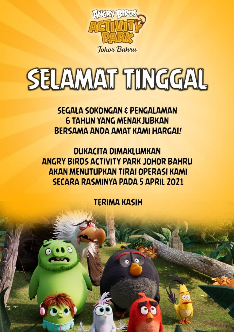 Angry Birds Theme Park To Permanently Close On 5th April - announcement