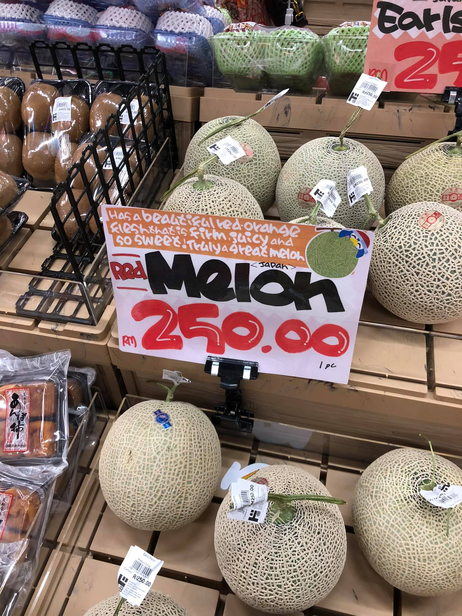 Woman surprised by price of Japanese melon - Don Don Donki