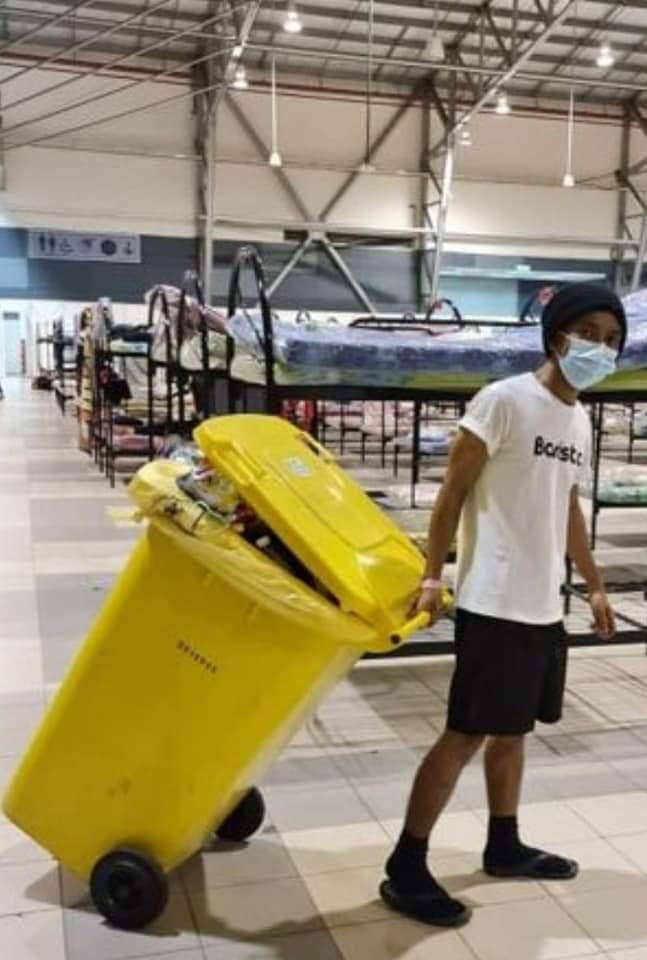 Man cleans quarantine centre 1