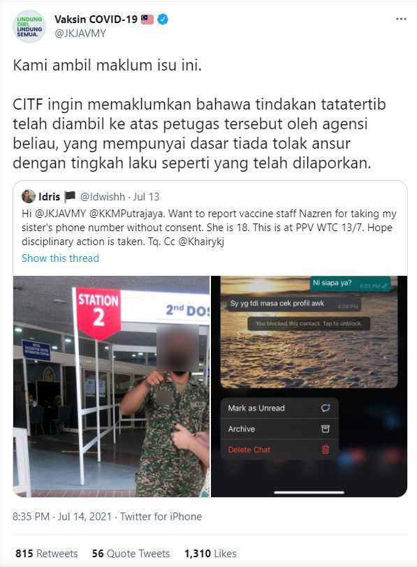 CITF confirms disciplinary action against staff via Twitter