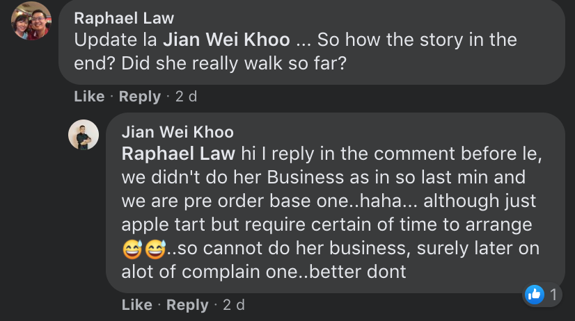 Customer complains about apple tart - comment